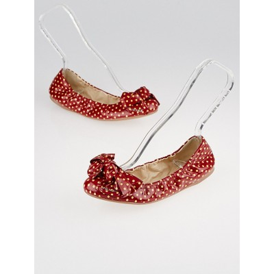 Prada Red Polka Dot Patent Leather Elastic Bow Ballet Flats Size 6.5/37
