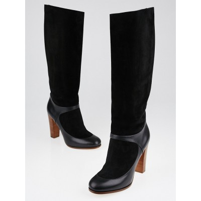 Celine Black Suede and Leather High Boots Size 9/39.5