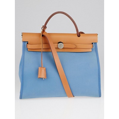 Hermes Blue Canvas and Natural Calfskin Leather Herbag Zip PM Bag