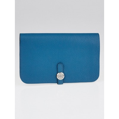 Hermes Cobalt Blue Clemence Leather Dogon Wallet