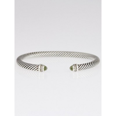 David Yurman 5mm Prasiolite and Diamond Cable Classics Bracelet