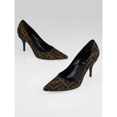 Fendi Tobacco Zucca Print Canvas Pointed Toe Pumps Size 5.5/36