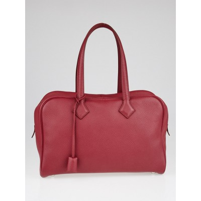 Hermes 35cm Rubis Clemence Leather Victoria II Bag