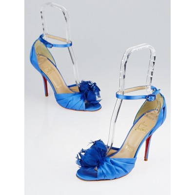 Christian Louboutin Blue Satin Rosazissimo Sandals Size 7.5/38