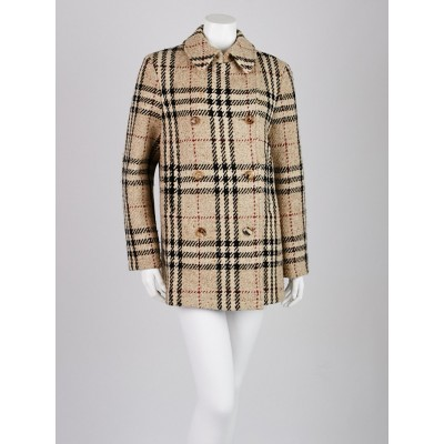 Burberry London Beige Check Wool Peacoat Size 10