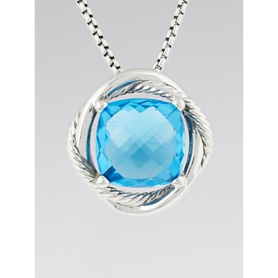 David Yurman 14mm Blue Topaz and Sterling Silver Infinity Pendant Necklace