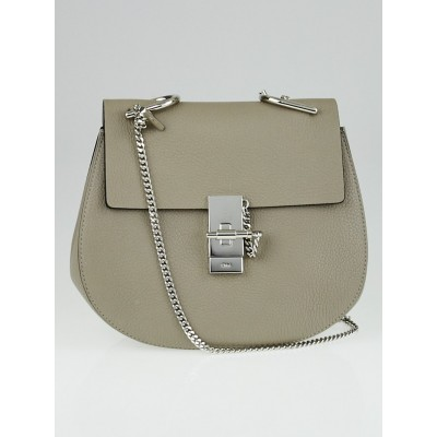 Chloe Motty Grey Pebbled Leather Small Drew Bag