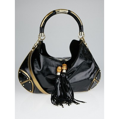 Gucci Black Dialux and Leather Large Babouska Indy Top Handle Bag