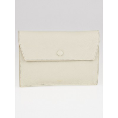 Celine Dark White Leather Mini Flap Clutch Bag