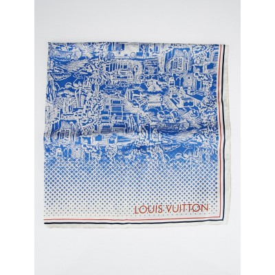 Louis Vuitton Blue City Silk Square Scarf