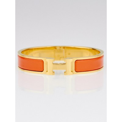 Hermes Orange Enamel Gold Plated Clic H PM Narrow Bracelet