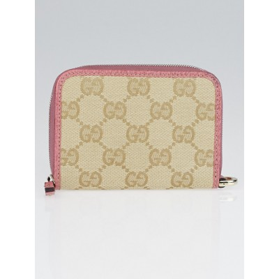 Gucci Beige/Pink GG Canvas Zippy Card Case and Coin Purse