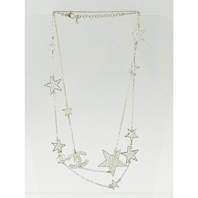 Chanel Silvertone and Swarovski Crystal Star CC Long Necklace