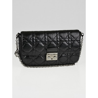 Christian Dior Black Cannage Quilted Calfskin Leather  Miss Dior Promenade Pouch Clutch Bag