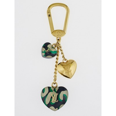 Louis Vuitton Green Leopard Stephen Sprouse Heart Couer Key Holder and Bag Charm