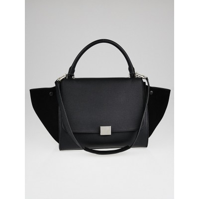 Celine Black Pebbled Calfskin Leather and Suede Medium Trapeze Bag