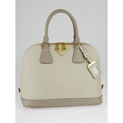 Prada Pomice/Argilla Saffiano Lux Leather Top Handle Bag BL847B