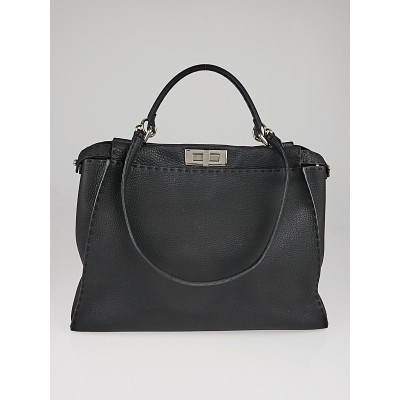 Fendi Black Selleria Leather Large Peekaboo Bag 8BN210