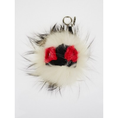 Fendi Beige Multicolor Fur Ciondolo Prisma Punchy Monster Key Chain and Bag Charm 7AR390