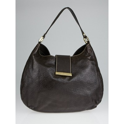 Gucci Brown Guccissima Leather New Web Hobo Bag