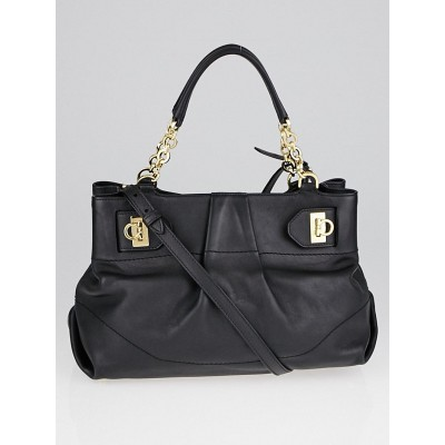 Salvatore Ferragamo Black Calfskin Leather W Chain Tote Bag