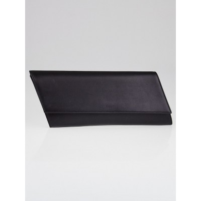 Yves Saint Laurent Black Calfskin Leather Diagonale Clutch Bag