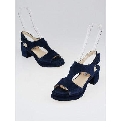Prada Navy Blue Suede Open-Toe Block Heel Sandals Size 7.5/38