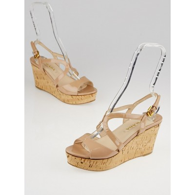 Prada Nude Patent Leather and Cork Wedge Sandals Size 7.5/38