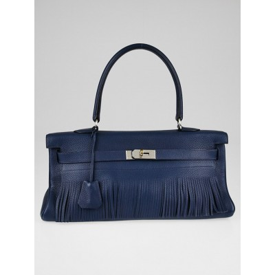 Hermes 42cm Blue Obscure Clemence Leather Palladium Plated Fringe JPG Kelly Bag