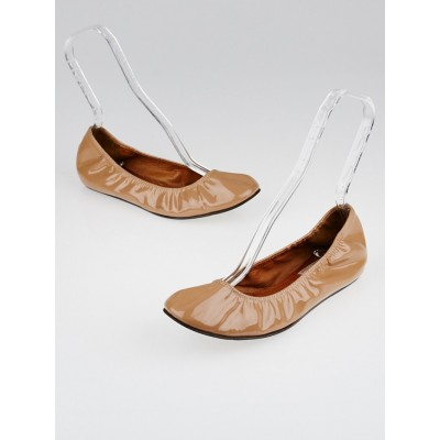 Lanvin Nude Patent Leather Ballet Flats Size 9/39.5