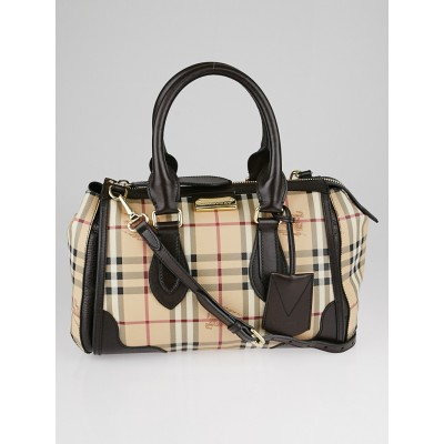 Burberry Chocolate Leather Haymarket Check Coated Canvas Small Gladstone Bag