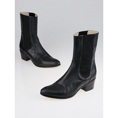 Chanel Black Tumbled Calf Leather Chelsea Boots Size 7.5/38