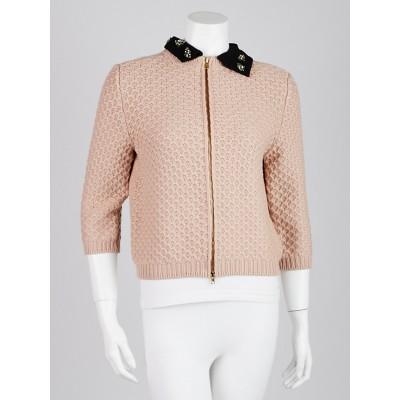 Miu Miu Pink Wool Jeweled Collar Cardigan Sweater Size 8/42