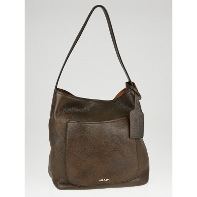 Prada Bruciato Cervo Leather Hobo Bag 1BC008