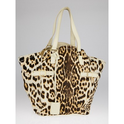 Yves Saint Laurent Leopard Print Pony Hair Medium Downtown Bag