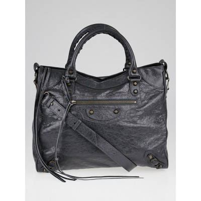 Balenciaga Gris Fossile Lambskin Leather Motorcycle Velo Bag