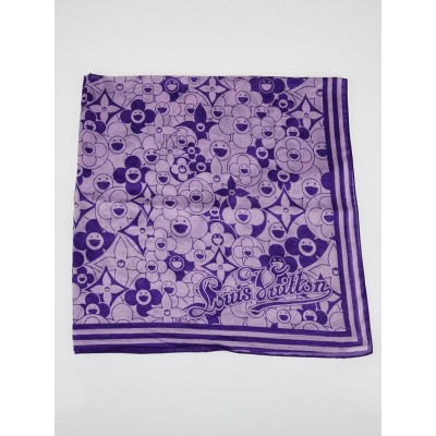 Louis Vuitton Purple Cotton Cosmic Blossoms Square Scarf