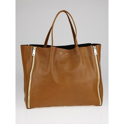 Celine Brown Leather Horizontal Zip Cabas Tote Bag