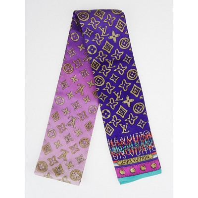 Louis Vuitton Purple Monogram Print Silk Bandeau Scarf