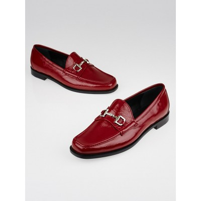 Gucci Red Patent Leather Horsebit Loafers Size 7.5/38