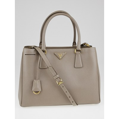 Prada Argilla Saffiano Lux Leather Small Tote Bag BN1874