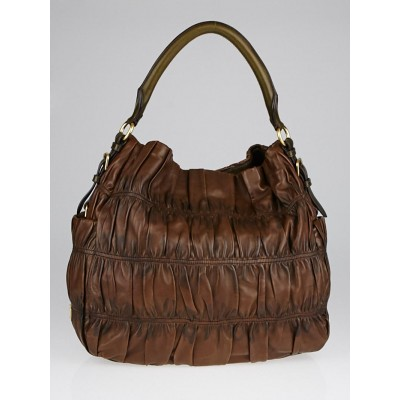 Prada Noce Nappa Gaufre Leather Large Hobo Bag BR3655