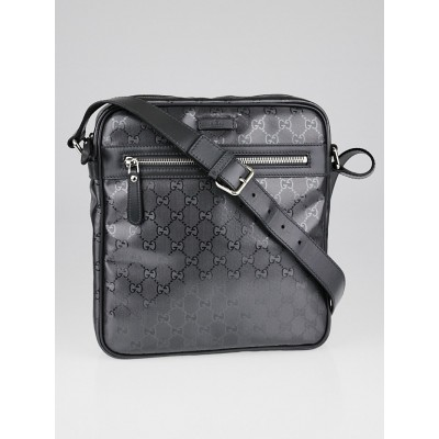 Gucci Silver Metallic GG Imprime Coated Canvas Messenger Bag