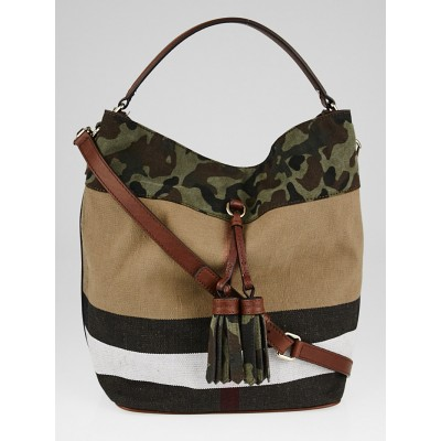 Burberry Russet Brown Camo-Trim Check Canvas Asby Bucket Bag