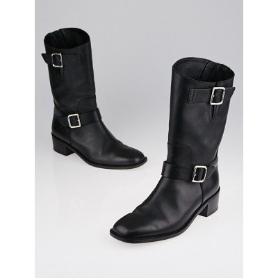 Chanel Black Leather Calf-High Buckle Boots Size 9.5/40