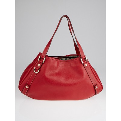 Gucci Red Leather Medium Abbey Tote Bag