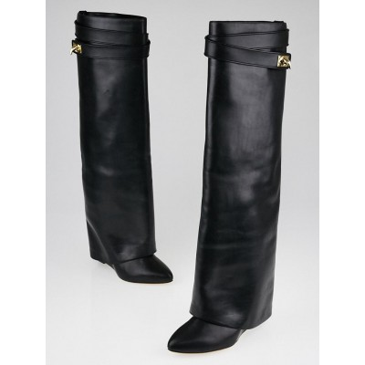Givenchy Black Calf Leather Shark Lock Tall Boots Size 9.5/40