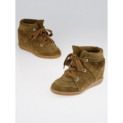 Isabel Marant Brown Suede Bobby Sneaker Wedges Size 4.5/35