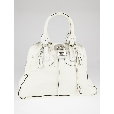 Chloe White Leather Plexo Paddington Large Dome Satchel Bag