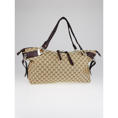 Gucci Beige/Purple GG Canvas Bamboo Bar Medium Tote Bag
